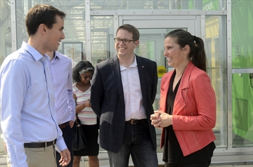 University of Toronto professor Adam Mott meets with federal Minister of Science and Sport Kirsty Duncan and St. Catharines MP Chris Bittle Thursday. A project he's involved with to develop disease resistant varieties of greenhouse vegetables was one of seven research studies to receive GAPP funding.