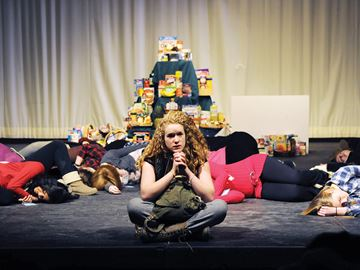 OSHAWA -- Jade McLeod, a student at O'Neill Collegiate and Vocational Institute, sat on stage during the technical rehearsal of the play 'Free' as part of the Durham District Sears Drama Festival at the Oshawa Little Theatre. February 25, 2014.