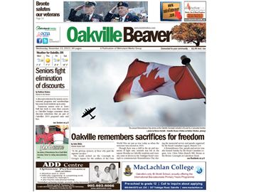 Oakville Beaver wins Best Front Page at OCNAs
