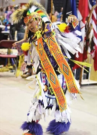 Theland Kicknosway performs a dance at the annual Ottawa Children and Youth Traditional Powwow at Carleton University on March 29. Theland, 10, lives in Nepean but is from Walpole Island, Ont. The powwow featured many dances, as well as traditional crafts for sale.