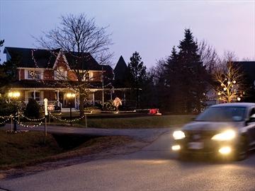 Christmas lights along Old Scugog Road