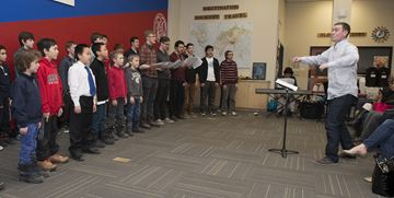 A Few Good Men perform Coldplay's Paradise during the Oakville Children's Choir afternoon celebration at St. Mildred Lightbourne School of the The Ontario Trilium Foundation project grant they received last year to help start two new choirs:  A Few Good Men (a male choir aged 7-25) and Little Notes Preparatory Choir program (children aged 3-4).