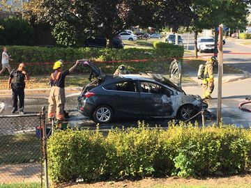 A car suddenly caught fire in Mississauga's Erindale community on Sept. 24. The driver and passenger made it out unscathed