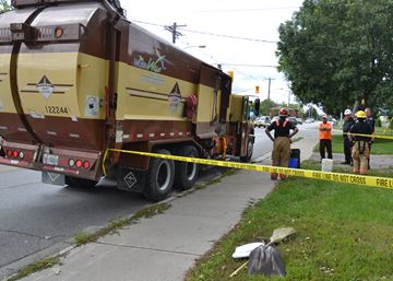 Explosion in garbage truck