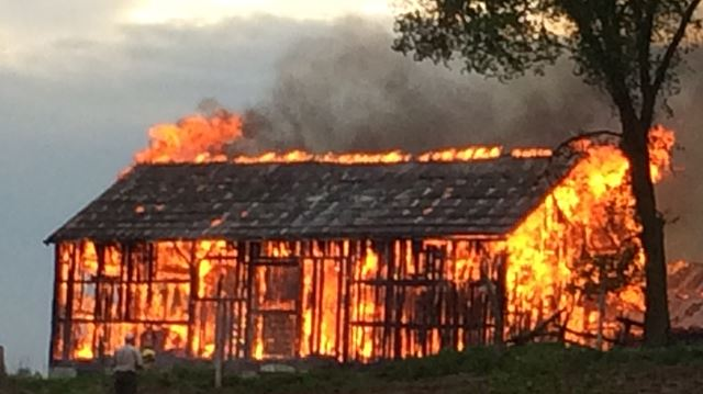 Barn fire on Emily Park Road - May 25, 2015