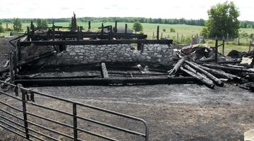 Barn fire at 730 Highway 36 -- July 24, 2014