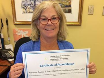 Local Alzheimer Society branch awarded certificate of accreditation