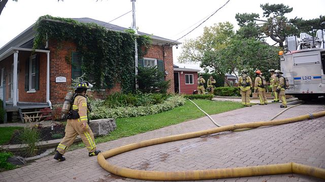 Kitchen fire in historic home in Oakville