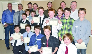 The members of the 2011-12 Collingwood Atom A Blackhawks were inducted into the Collingwood Sports Hall of Fame on Saturday night.