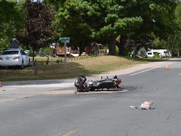 Motorcycle crash sends Midland man to hospital