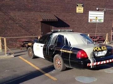 Suspects sought after paint dumped on cop car-Image1