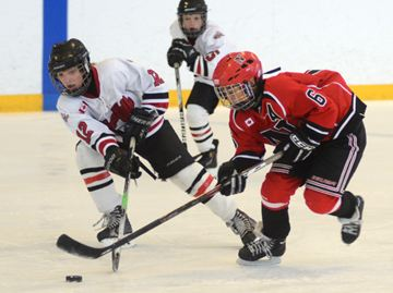 Alan Tratnik of the Stouffville Clippers lifts the stick of Newmarket Redmen forward Daniel Pang during major atom AE play at the Clipper Complex Saturday. (Nick Iwanyshyn/York Region Media Group)