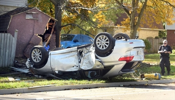 A car ended up on its roof after the driver lost control travelling east on Lexington Road at the intersection of Dunvegan Drive in Waterloo on Wednesday. The driver was taken to hospital. A fire hydrant, bench, stop sign, hydro pole and garden shed were damaged in the accident.