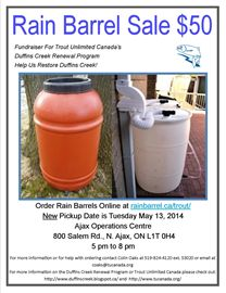 New Rain Barrel Sale Pickup Date for Trout Unlimited Canada Fundraiser