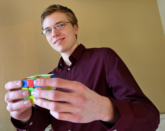 Antoine Cantin, a University of Ottawa environmental sciences student, demonstrated his prowess with a Rubik's Cube that made him one of the world's best. His average time to solve is typically around eight seconds. Antione was a presenter at the 10th edition of the Innovation Nation Conference and Student Innovation Showcase held at LIUNA Station Sunday, where he had been a presenter once before.