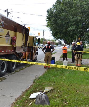 Explosion in garbage truck