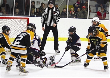 It's an all-out battle for the puck in front of the Norwood Hornets net in OMHA CC-C Novice semifinal action last weekend at Brighton arena. The Braves won the game and the series in dramatic fashion: with a shorthanded goal in overtime. Full playoffreports are in the Scoreboard.