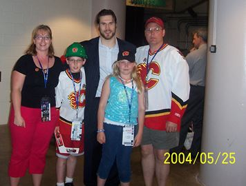 Peterborough's Babcock family with former NHL player Steve Montador