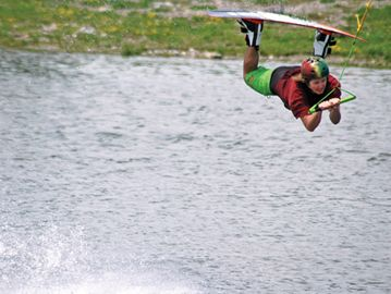 Matt Mulholland gets some good extension on a jump during Saturday's wakeboard event at Boarder Pass Niagara.