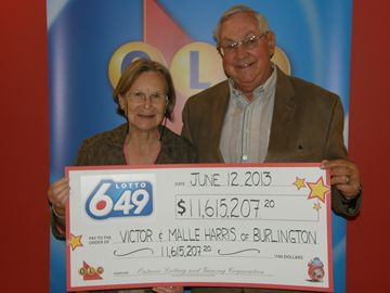 Victor and Malle Harris of Burlington won more than $11.6 million in the May 25 Lotto 6/49 draw.
