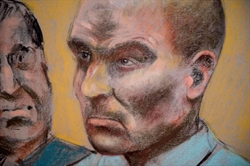 A judge will hand down his verdict today in the case of former ski coach Bertrand Charest, who stood trial earlier this year on 57 charges, including sexual assault and breach of trust, in connection with 12 alleged victims between the ages of 12 and 19. Charest is seen on a court drawing during a bail hearing in St-Jerome, Que., Monday, March 16, 2015. THE CANADIAN PRESS/Mike McLaughlin