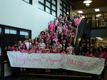 Almaguin students wore pink on November 20 in support of anti-bullying week. Students signed the banner pledging they wouldn't participate in bullying.