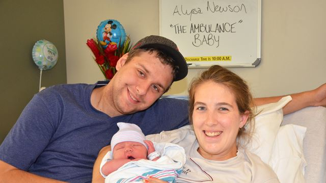 Matt Ball and Alyssa Newson with their new son Abel