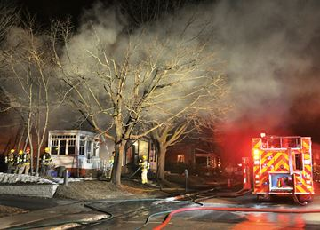 A fire Saturday evening destroyed a two-storey home at 363 Midland Ave.