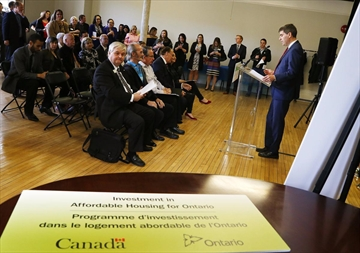 City of Peterborough director of planning and development services Jeffrey Humble addresses the crowd during a grand opening ceremony celebrating affordable housing projects in Peterborough and the City of Kawartha Lakes on Friday April 21, 2017 at The Mount Community Centre in Peterborough, Ont. Humble is leaving his position with the city.