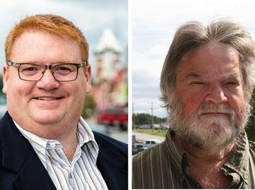Mayor Graydon Smith and mayoral candidate Phil Kolyn