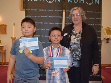 Kumon awards recognizing student accomplishments