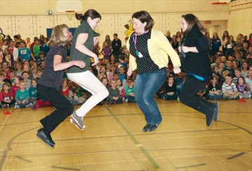 Skipping rope in unison at the Jump Rope For Heart and Hoops For Heart fundraising efforts at A. Lorne Cassidy Elementary School in Stittsville on Monday, April 7 are, from left, A. Lorne Cassidy staffmembers Lianne Lutz, Kathryn Ferguson, Lyndsey Baxter and Michelle Kilgour.