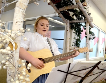 Beamsvile District Secondary School student Sarah Cook performs during the Lincoln Museum & Cultural Centre's Anne of Green Gables themed tea party on Feb. 10.