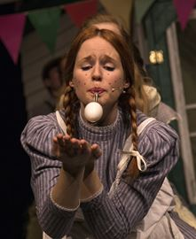 Kyli Ball, as Anne of Green Gables, in an egg race in the recent Meistersingers' production at L'Octave Theatre.