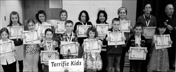 St. Mary Catholic School, March 14. Front - Sydney, Gabriella, Ireland, Owen, Clare, Andrew, Lukian. Back - Charlotte, Alyson, Madison, Damien, Lena, Harmony, John Blasko.