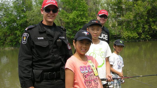 Cops, kids fish