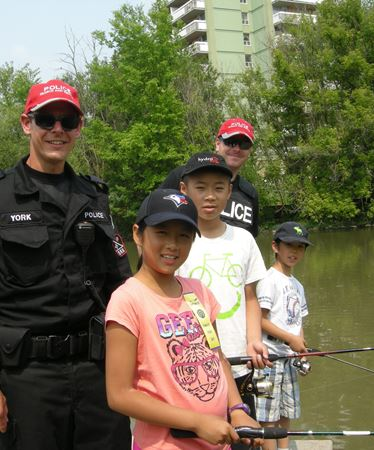 Cops, kids fish