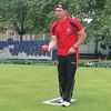Penetanguishene lawn bowler Tim Mason flying Canadian flag in Scotland