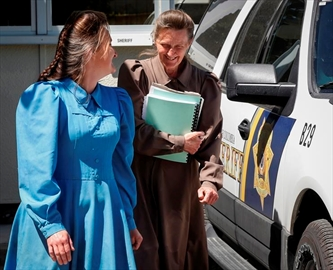 Gail Blackmore, right, leaves court during a lunch break in her sentencing hearing, she was convicted of taking a 13-year-old girl into the United States to marry the now-imprisoned leader of a religious sect that practices plural marriage, in Cranbrook, Alta., Friday, June 30, 2017.THE CANADIAN PRESS/Jeff McIntosh