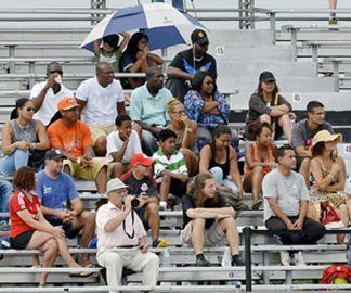 Fans enjoy stadium seating
