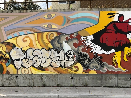 Graffiti vandals target public art mural in Kitchener two years after installation