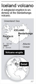 Volcanic eruption begins under Iceland glacier-Image1
