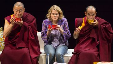 From left, James Saito, Celia Keenan-Bolger and Jon Norman Schneider in a scene from Lincoln Center Theater's production of The Oldest Boy, a new play by Sarah Ruhl, directed by Rebecca Taichman.
