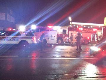 Emergency crews at Hwy. 7 crash scene