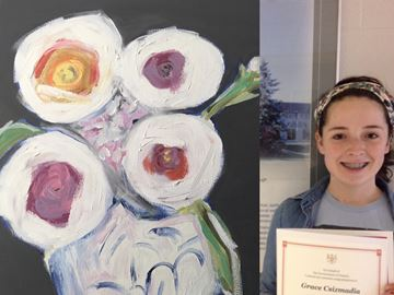 Grace Csizmadia's painting is on display at Queen's Park