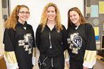 STM hockey players Knights Amanda Mercuri (left), Caitlin Huss and Sofia Domanico