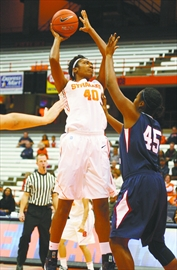 Kayla Alexander (seen here competing with Syracuse University this past season) was drafted eighth overall by San Antonio last night.