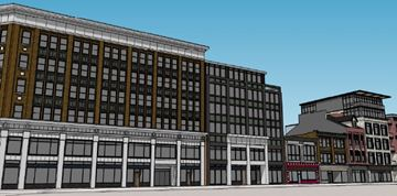 A rendering of the Lister Block and accompanying annex.