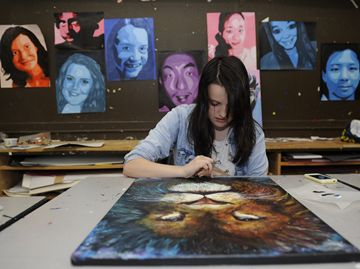 Martha Tudball works on her art for the Morphed Reality show.