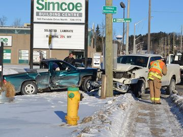 Pickup trucks collide on Ferndale Drive in Barrie